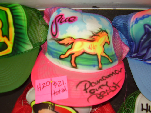 4b2085af1c8 Simple beach scene bkgrnd. Name written above and left of horse. Option of  additional message on hat s bill.