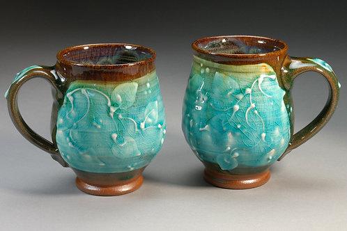 Turquoise Leaves Mug Pair