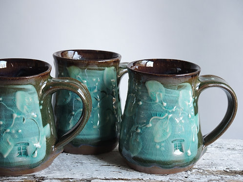 Turquoise Leaves Diner Mugs