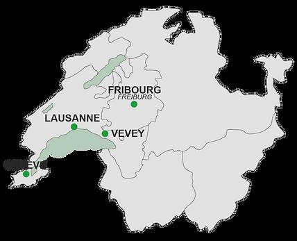 Carte avec les lieux de consultations Walk2Talk à Genève, Lausanne, Fribourg