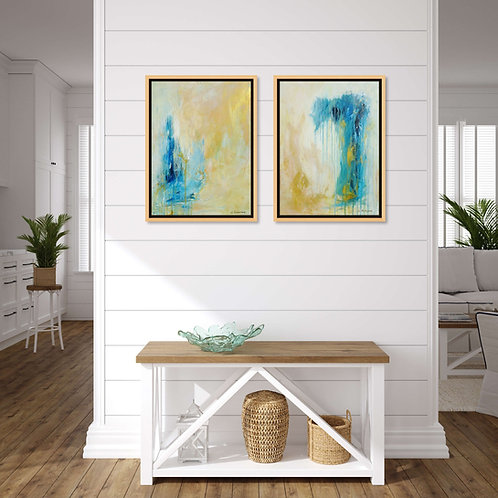 Set of 2 Abstract Paintings Blue Beige Gold Modern Coastal Art. 61 x 91 cm