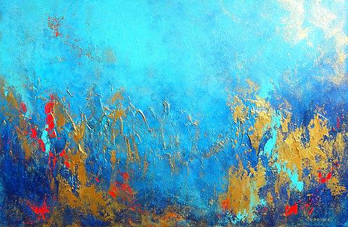 Abstract Seascape Original Painting on Canvas. Florida Art. Coastal Decor