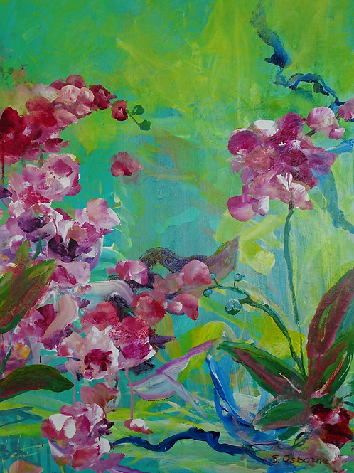 Abstract Pink Orchids. Contemporary Floral Painting #810-74