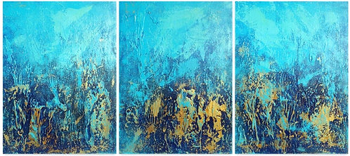 Large Blue and Gold Abstract Textured Painting. Abstract Seascape Coastal Decor