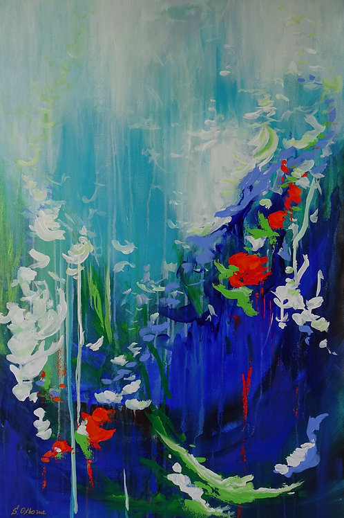 Gardens & Floral Landscape #401. Large Blue, Red and White Modern Ab