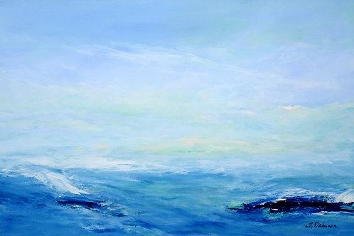 Abstract ocean waves seascape painting. Blue, grey, teal. Beach, ocean waves