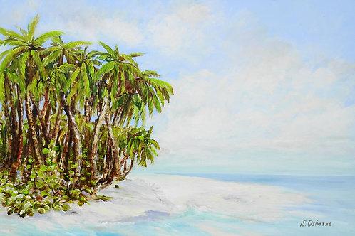 Tropical Island. Palm trees. Original acrylic painting on canvas