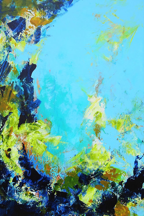 Large Blue, Green, White Modern Abstract Textured Painting # 810-49