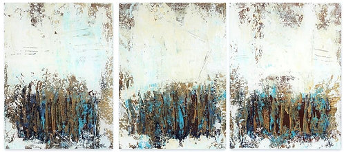Large Abstract Textured Painting. Blue Beige Gold Modern Textured Art on Canvas
