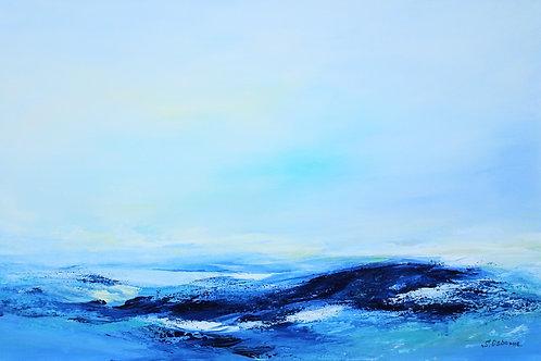 Abstract seascape original painting on canvas. Beach, ocean