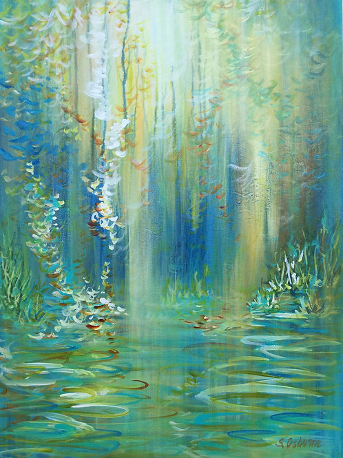 Abstract floral painting Magic Garden #810-85. Abstract landscape, forest, lake