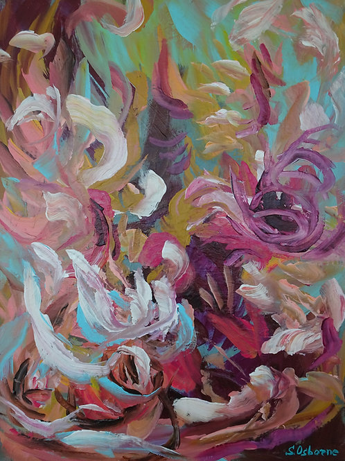 Tropical Flowers. Abstract Floral Garden textured painting #810-67