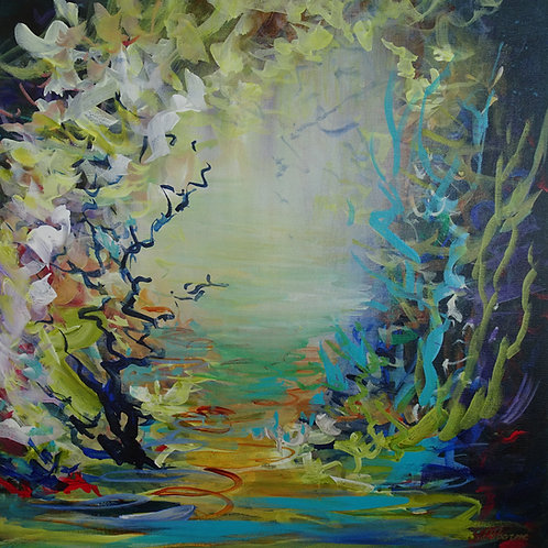 Magic Garden  #237 Abstract Floral Garden Landscape Art