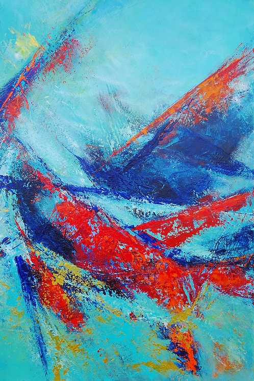 Large Abstract Textured Blue, Gold, Turquoise, Red Landscape Painting