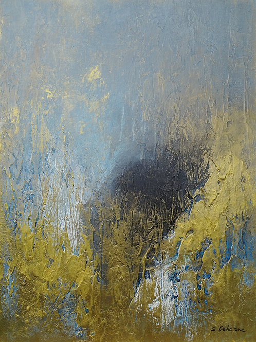 Gray and Gold Abstract Textured Painting