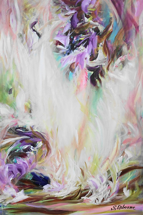 Large Abstract Purple Floral Landscape Painting. Modern Abstract Art