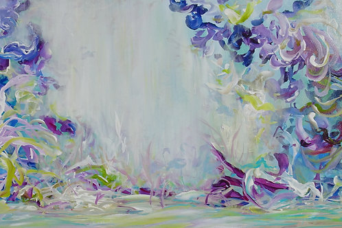 Floral Garden. Abstract Forest. Original Painting on Canvas. Impressionism