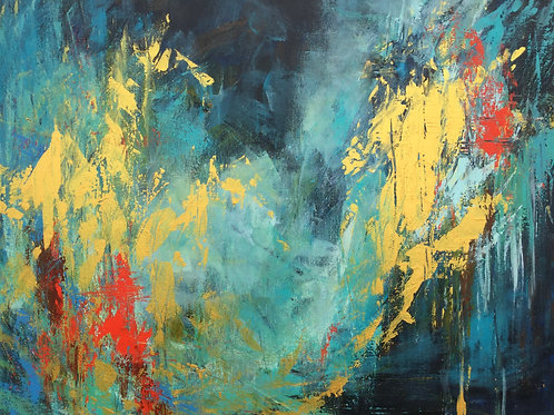 Golden Horses. Large Abstract Painting. Contemporary art. #810-60