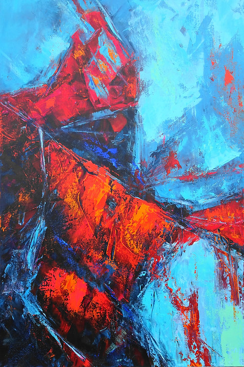 Large Abstract Painting Blue, Turquoise, Red. Modern Textured Art. Blue Abstract