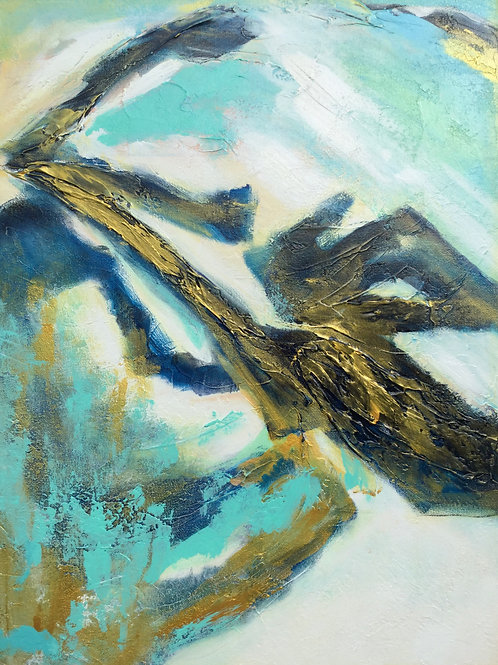 Textured Abstract Blue & Gold Painting, Abstract Landscape Art