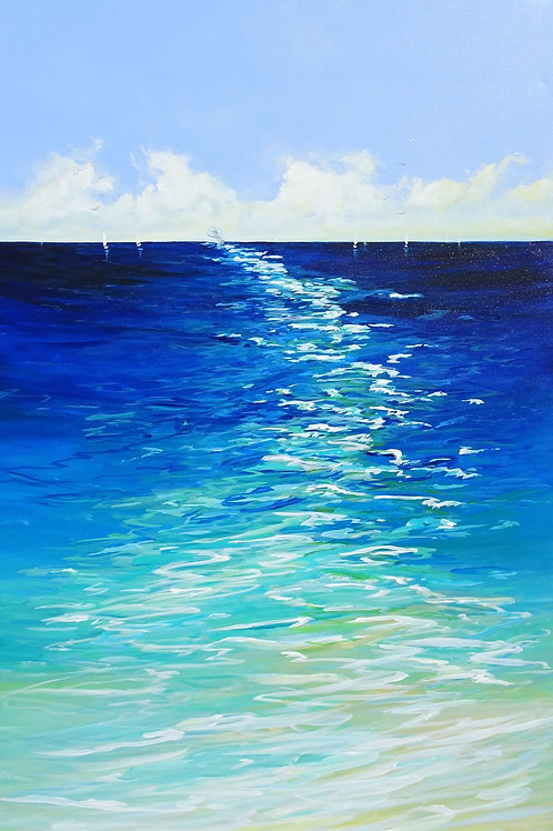Sailing Boats Seascape Painting. Beach, Ocean, Sea Waves, Yacht, Sky with Clouds