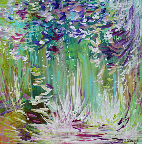 Magic Garden. Abstract Floral Landscape. Original Tropical Forest Painting