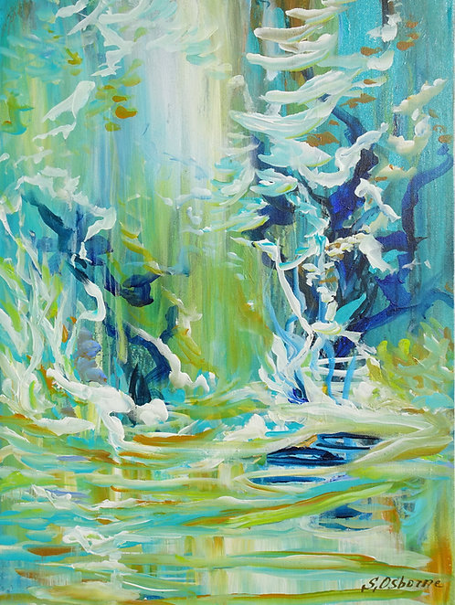 Abstract Forest Pond Painting. Floral Garden. Modern Abstract Art