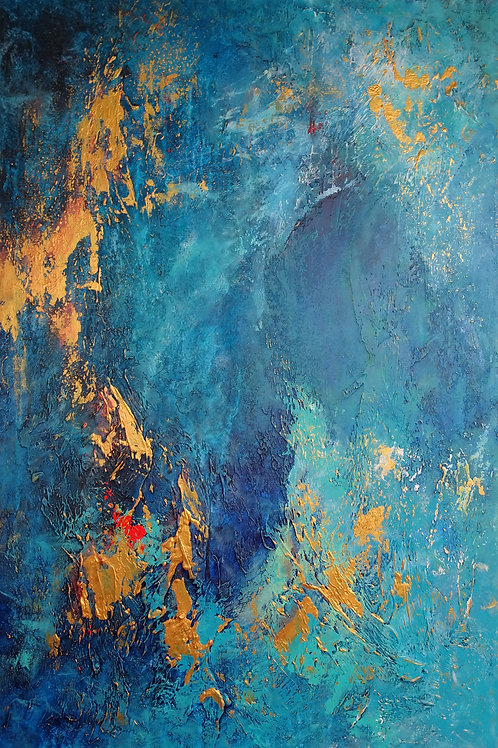 Large Blue, Turquoise & Gold Contemporary Abstract Painting # 810-29