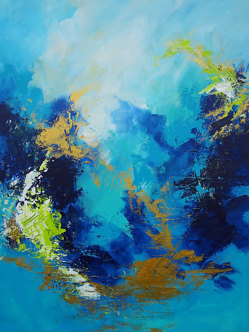 Abstract sky with clouds, seascape, floral painting #810-61
