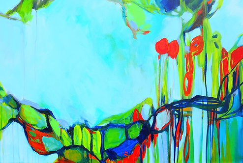 Large Abstract Blue Turquoise Green Landscape Painting. Modern Abstract Art