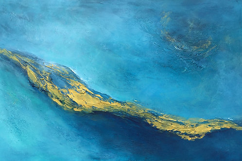 Large Blue, Teal & Gold Contemporary Abstract Painting # 810-53