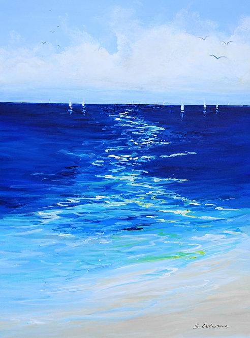 Sailing Boats Seascape Painting. Beach, Ocean, Sanibel Island, Florida Art