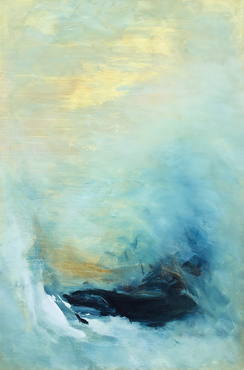 Large Blue & Gold Contemporary Abstract Painting # 810-34