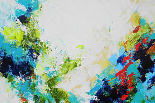 Large Blue, Green, Red, Teal, White Modern Abstract Textured Painting