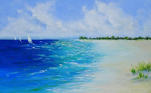 Sailing Boats Seascape Painting. Beach, Ocean, Coastal Art Florida Impressionism