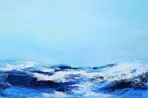 Abstract ocean waves seascape painting. Beach, ocean waves