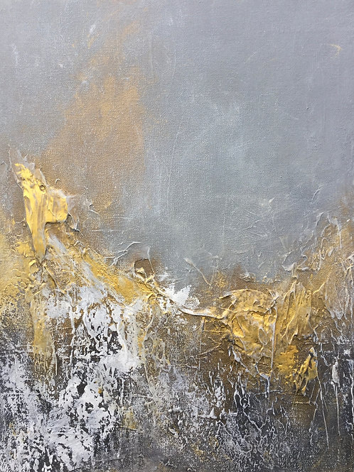 Abstract painting #14. Bronze, gray and gold abstract textured art