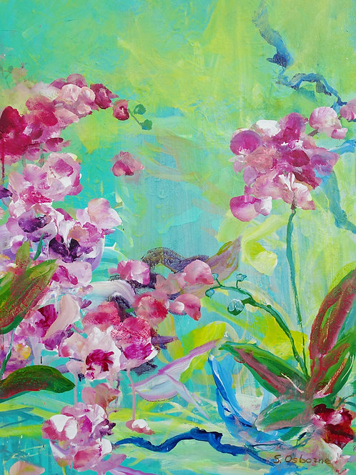 Pink Orchids Original Painting. Tropical Flowers Floral Impressionistic Art