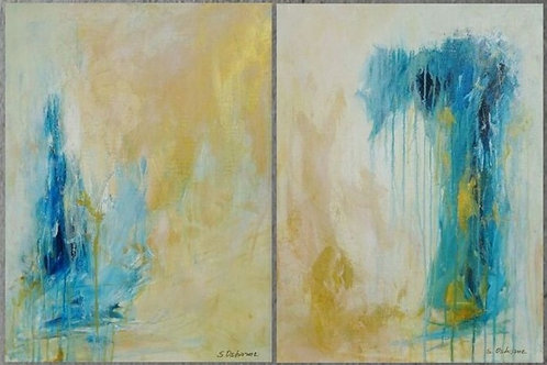Large Abstract Painting. Modern Blue and Gold Diptych Art. 61 x 91 cm (2020)