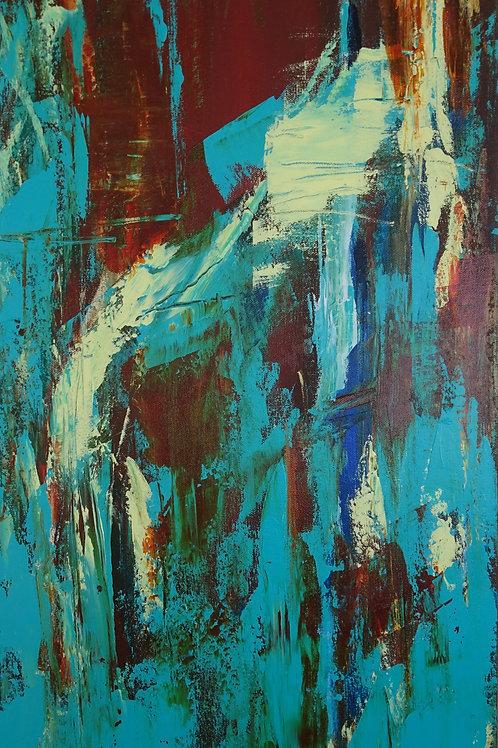 Abstract modern art blue, brown, ochre, teal, textured painting #810-72