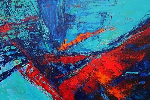 Large Abstract Blue Turquoise Red Landscape Painting. Modern Textured Art