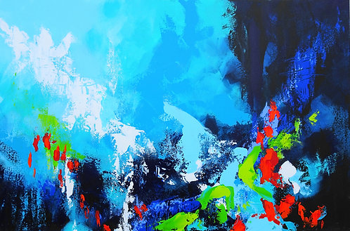 Large Abstract Blue White Landscape Painting. Modern Abstract Textured A