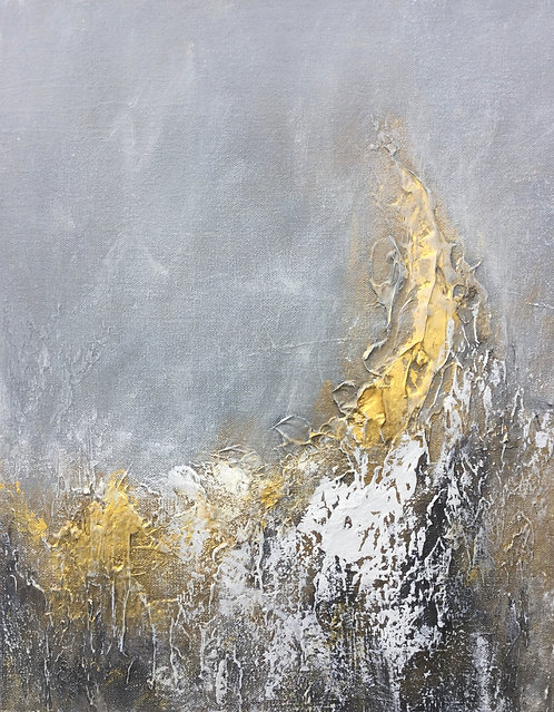 Abstract painting #15. Bronze, gray and gold abstract textured art