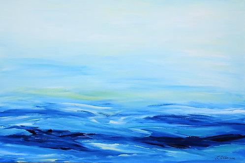 Abstract seascape original painting. Beach, ocean waves