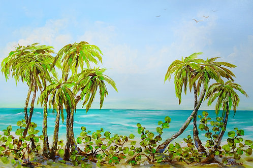 Day at the Beach. Palm trees. Original acrylic painting on canvas