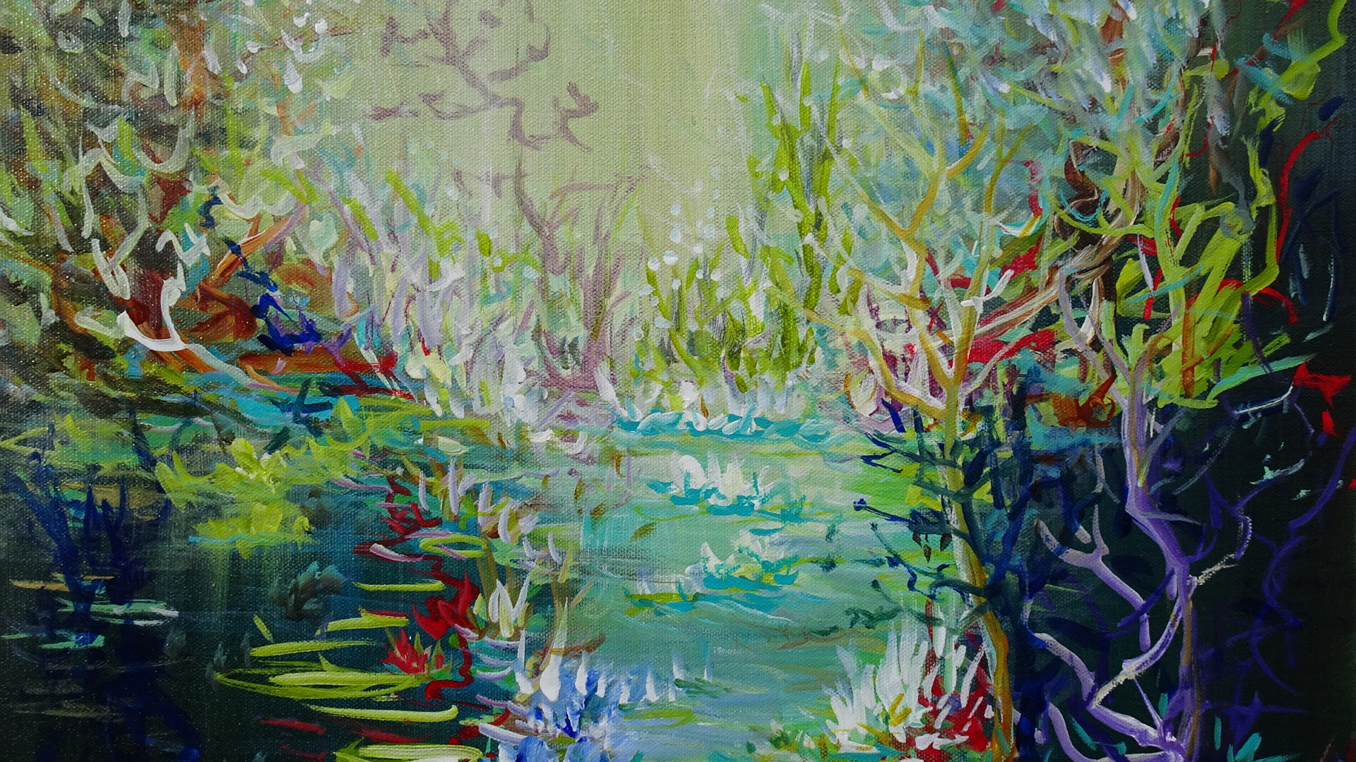 Abstract Landscape Pond Painting