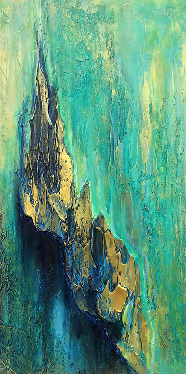 Tropical Breeze. Small Blue, Teal, Turquoise & Gold Contemporary Abstract Art