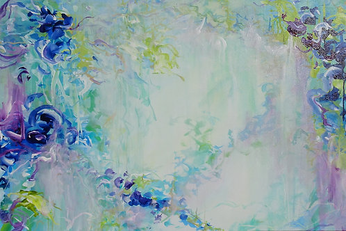 Abstract Floral Painting Tropical Forest. Acrylic on Canvas. Impressionism
