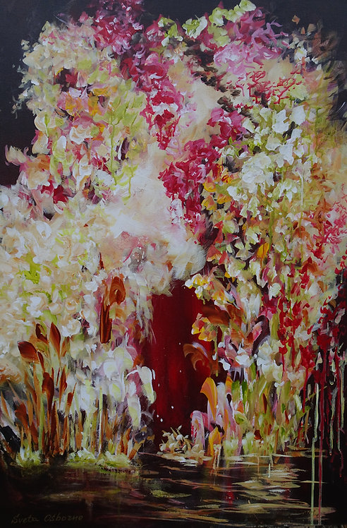 Pink orchids. Floral Art. Abstract landscape painting Magic Garden #218