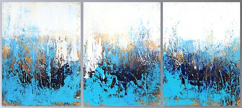 Large Abstract Textured Painting. Blue White Gold Modern Textured Landscape Art